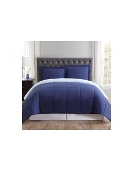 2 Piece Twin XL Comforter Set (Navy/Burgundy)