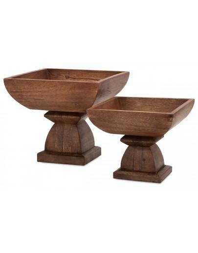 Julian Wood Pedestal Bowls (Set of 2) Brown